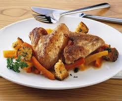 Galletto con carote e porri