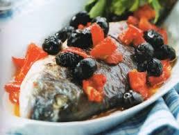 spigola in salsa di olive